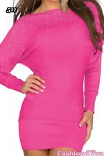 Women's Jumper Dress Batwing Ladies Pullover Casual Tunic One Size 8 10 12 14 UK Dark Pink