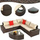 Yitahome 6pcs Outdoor Patio Rattan Wicker Furniture Set Sofa Cushioned Garden