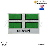 DEVON England County Flag With Name Embroidered Iron On Sew On Patch Badge