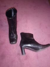 Vtg 2000s Ladies Nickels Black Leather Ankle Boots - Size: 6 (fixer upper, etc)