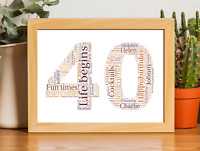 16th 18th 21st 30th 40th 50th 60th 70th Birthday personalised Word Art Print A4