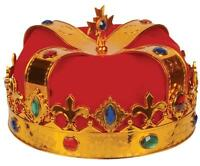 RED PLUSH DELUXE JEWELED PRINCESS / PRINCE DRESSUP CROWN HAT costume mid evil