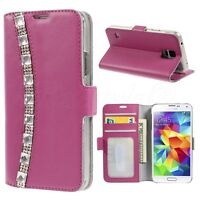Samsung Galaxy S5 NEO Phone Genuine Leather Diamond Bling Wallet Flip Case Cover