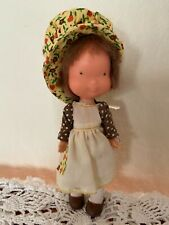 "Vintage 1975 Knickerbocker Holly Hobbie Vinyl Doll 6"" Brown"