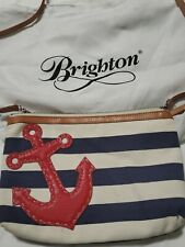 New ListingBrighton Nautical Navy White Stripe Canvas Red Leather Anchor Crossbody handbag