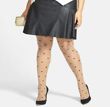 NORDSTROM NUDE ALL OVER WOVEN BLACK POLKA  HEART DOTS  TIGHTS PLUS SIZE LX 1X