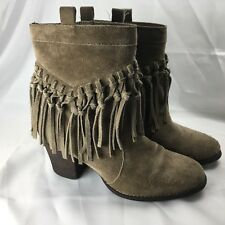 Sbicca Women's Size 8 Tan Brown Hobo Western Suede Booties with Fringe