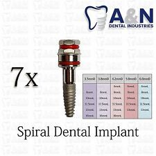 7 SPIRAL Dental Implant Internal Hex Sterilized Free Shipping High Quality