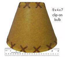 "9"" FAUX OILED KRAFT PAPER LAMP SHADE W/ LACING STANDARD BULB CLIP"