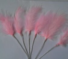 6  Pink marabou feathers sprays on wire for decorating cakes,floral crafts