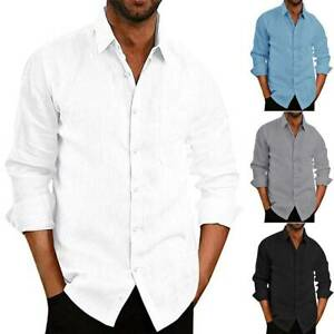 Mens Long Sleeve Button Down Shirt Casual Loose Beach Tops T-Shirts Blouse