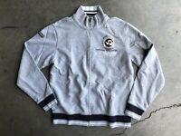 Napapijri Geographic Distressed Full Zip Sweatshirt Jacket sz XL Gray Cardigan