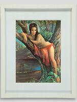 Woodland Goddess by J H Lynch Tretchikoff Era - Vintage Kitsch Framed Art Print