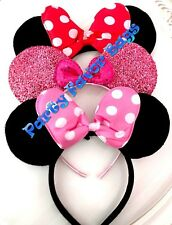 NEW 3 Minnie Mouse Headbands Black Plush Pink Red Polka Dots Shiny Pink Sequin