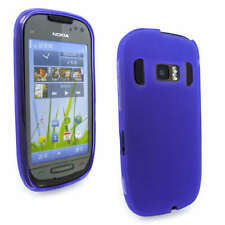 Purple Jelly Gel Case Cover for Nokia C7-00 + Screen Gd