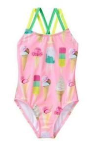 Gymboree Toddler Girls Cris Cross Back 1 Piece Swimsuit Pink Size M (7-8) 5854