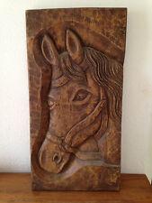 """Ancien Tableau en bois sculpté  """" cheval  """" equitation art populaire"""