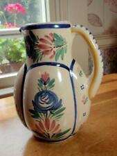 """HB Quimper Pottery Breton Man & Floral Pitcher 8.5"""""""