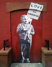 24 x 36 inch Banksy Mr Brainwash Einstein Love premium quality Canvas Print