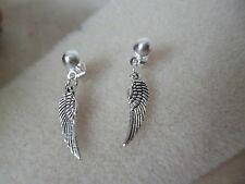 TIBETAN SILVER ANGEL WINGS   STUD EARRINGS, BUTTERFLY BACKS