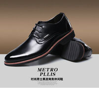 2017 New Mens Brown Lace Up Business Formal Dress Oxford Genuine Leather Shoes