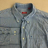 IZOD Button Up Shirt Mens 2XL Blue White Long Sleeve Check Button Down Collar