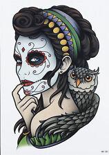Tatouage temporaire tattoo couleurs visage femme catrina calavera chouette hibou