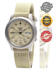 Seiko 5 Automatic SNK803K2 Mens Beige Dial Day Date Nylon Strap Watch