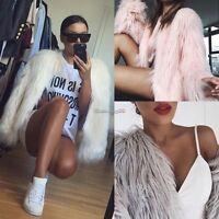 Women Winter Fluffy Shaggy Faux Fur Coat Lady Warm Cardigan Jacket Outwear Tops