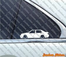 2x Lowered car outline stickers - for  VW Jetta Mk3 / Vento (euro) VR6