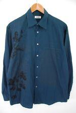 Moschino Romeo & Juliet Quote Casual Button Down Shirt Blue Black Mens 16 - 41cm