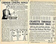 1928 small 2 Pg Ad Magic Chinese Linking Rings Chung Ling Soo Buddhist Swastika