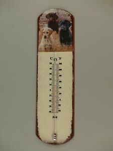 9977719-x Vintage Wand-Thermometer Blechschild Hunde 48x13cm