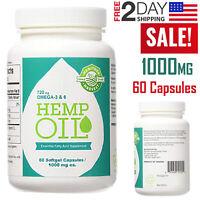 Hemp Oil Capsules 1000mg Gel Organic Pain Relief Sleep Aid Anti Anxiety Vitamins