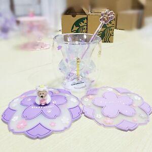 2020 Sakura STARBUCKS Glass Mug Set purple cat paw cup cover lid coaster stir