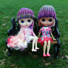 Multi Colored Pink Purple Beanies for Blythe - Loom Knit Doll Hats - Lot of 2