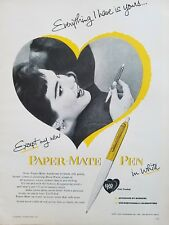 1954 Paper Mate Fountain ink pen in white everything I have is yours vintage ad