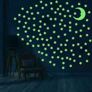 100 Glow Stars and 1 Moon In The Dark Star Plastic Stickers Ceiling Wall Bedroom