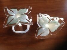 Murano Italian Glass decorative green flowers set of two