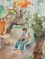 Vintage wc painting landscape figures