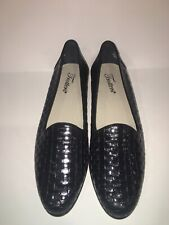 Trotters Black Woven Weave Leather Slip On Loafers Flats Casual 7 1/2 S