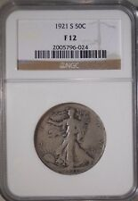 1921-S NGC F12 FINE Walking Liberty Half Dollar 90%Silver 50 Cent Coin  C 151