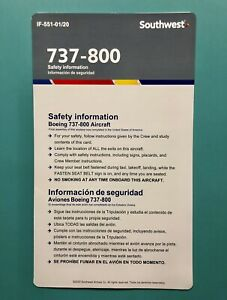 2020 SOUTHWEST AIRLINES SAFETY CARD--737-800