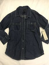Seven 7 Womens Denim Button Shirt 3/4 Sleeve Bubbles Size S NWT $69