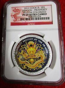 2012 S$5 Cook Islands Dragon Prosperity NGC PF69 1oz .999 silver coin bullion