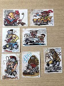 7 Vintage 1970 Donruss Odder Odd Rod Sticker Cards Swinger Manx Forever Clod ++!
