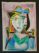 Drawing  on vintage paper signed  PABLO PICASSO