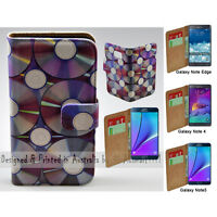 For Samsung Galaxy Note Series Compact Disc Print Wallet Mobile Phone Case Cover
