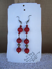 fish hook style dangle Earrings handmade gold Heart, with red marble beads
