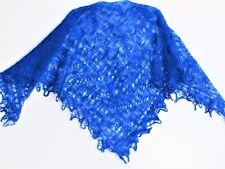 Châle russe d'Orenbourg bleu 125x125 duvet chèvre/soie tricoté main shawl chal